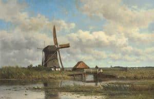 Willem Roelofs | Vissers bij een bruggetje in een weids polderlandschap