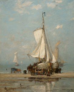 Hendrik Willem Mesdag | De verkoop van de visvangst op het strand van Scheveningen
