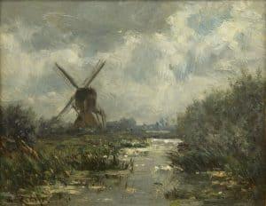 Willem Roelofs | Molen bij een poldervaart