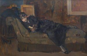 Isaac Israëls   Reading girl on a sofa