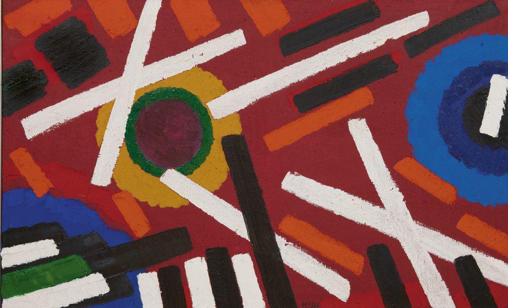 Willem Hussem   Compositie met rode achtergrond