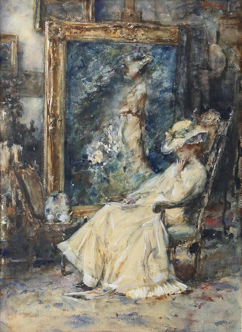 Albert Roelofs - Lezende Tjieke in het atelier van de schilder
