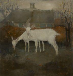 Jemmy van Hoboken | Twee geiten met een boerderij op de achtergrond
