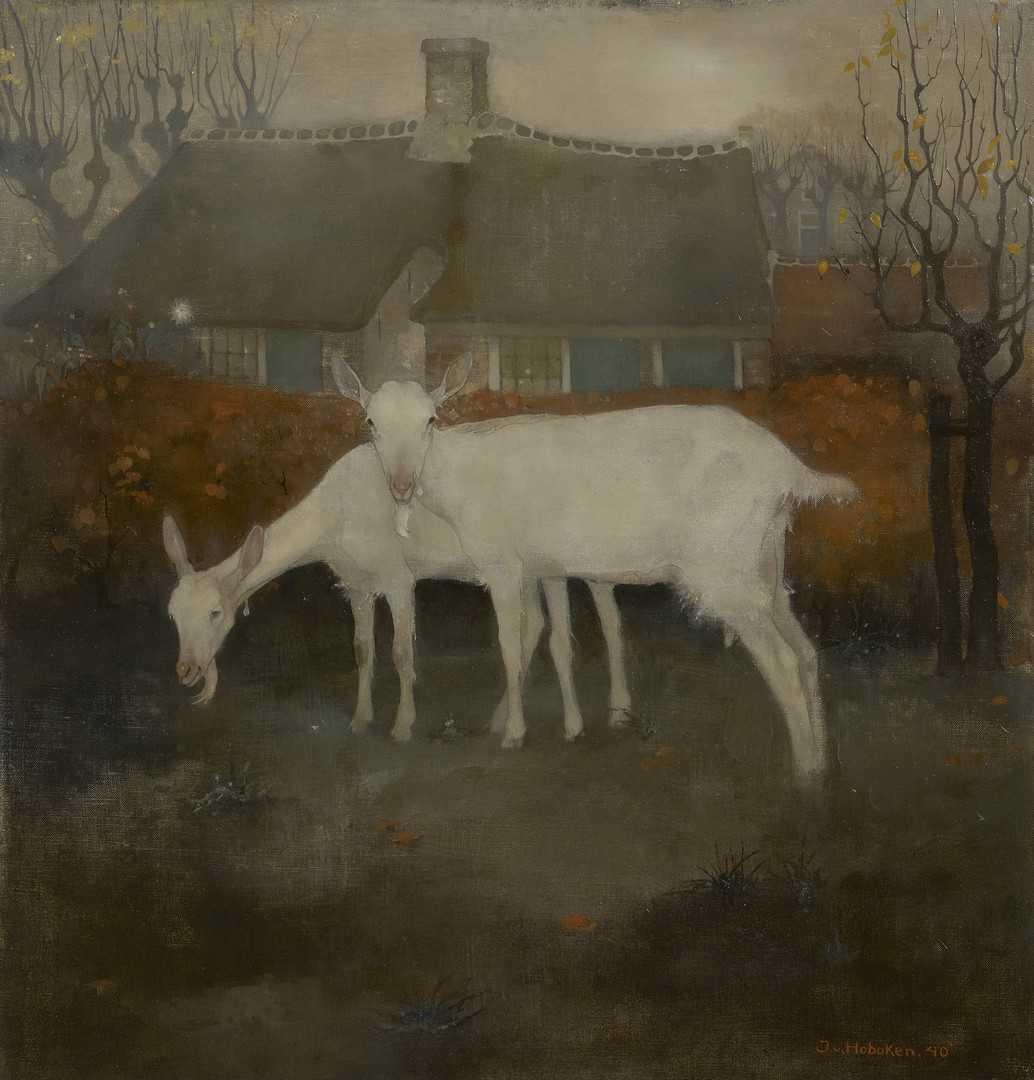 Jemmy van Hoboken - Twee geiten met een boerderij op de achtergrond