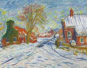 Johan Dijkstra | Winters straatje in Sint Annen