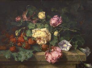 Margaretha Roosenboom | Stilleven met rozen en aardbeien