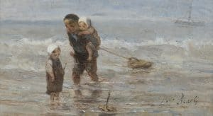 Jozef Israëls | Children with a toy boat on the beach in shallow water