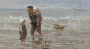 Jozef Israëls | Kinderen met een speelgoedbootje op het strand in ondiep water