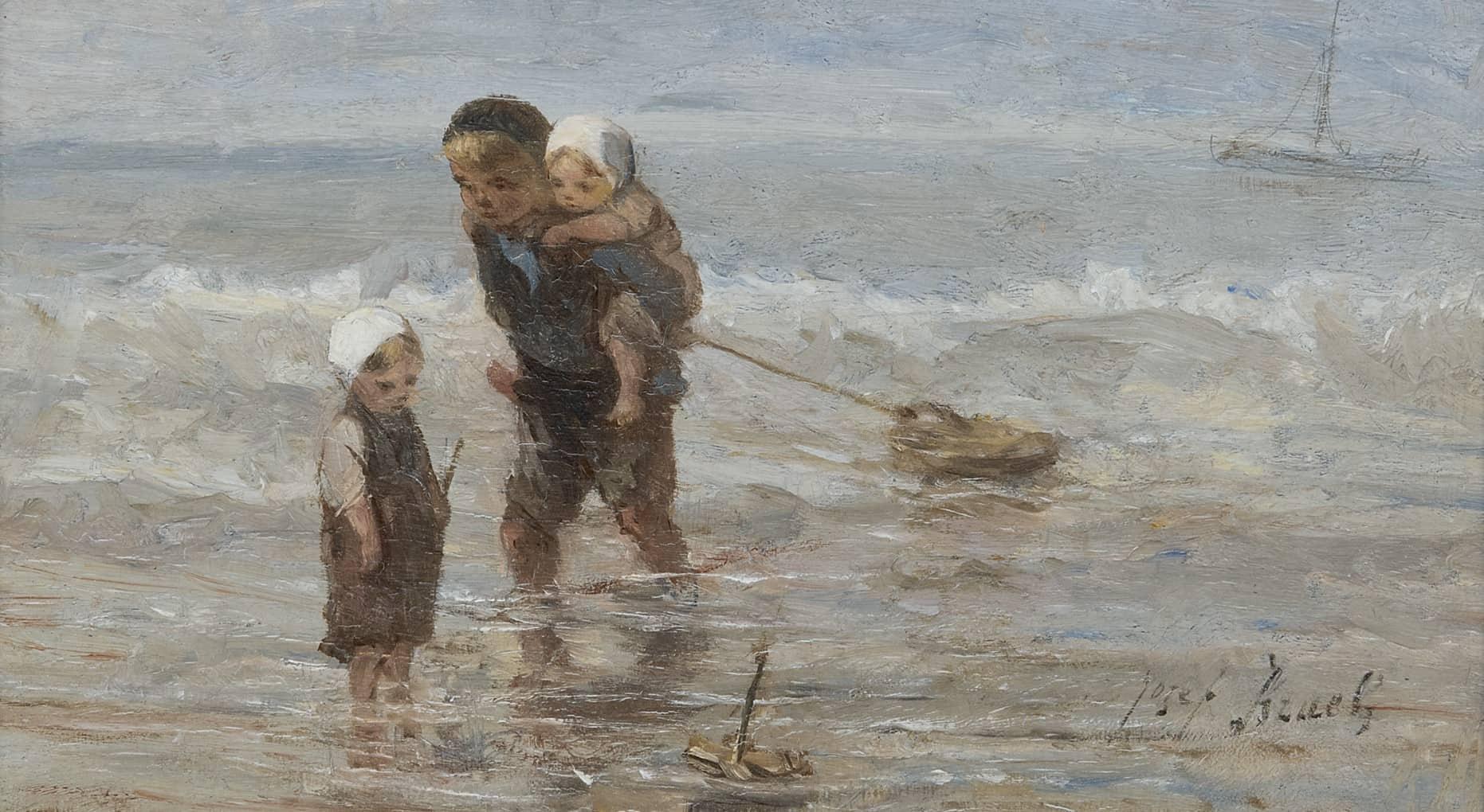 Jozef Israels - Kinderen met een speelgoedbootje op het strand in ondiep water