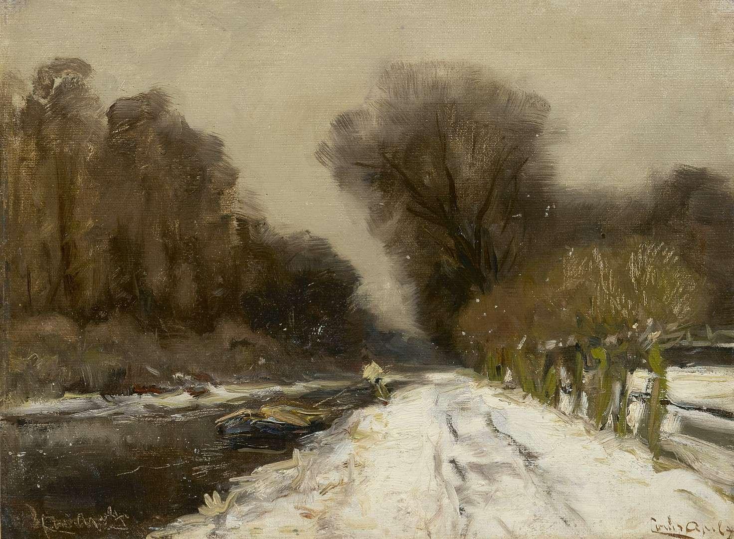 Louis Apol - Besneeuwd bospad langs een vaart