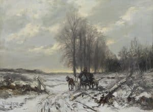 Louis Apol | Winter landscape with horse and carriage