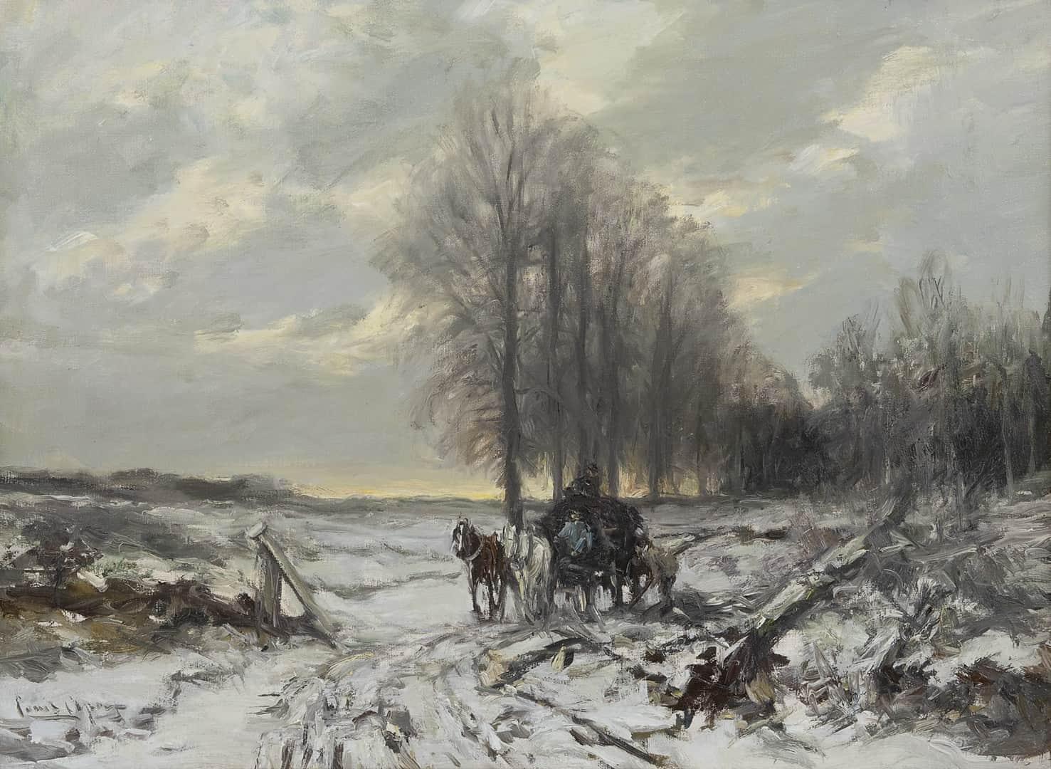 Louis Apol - Winterlandschap met paard en wagen