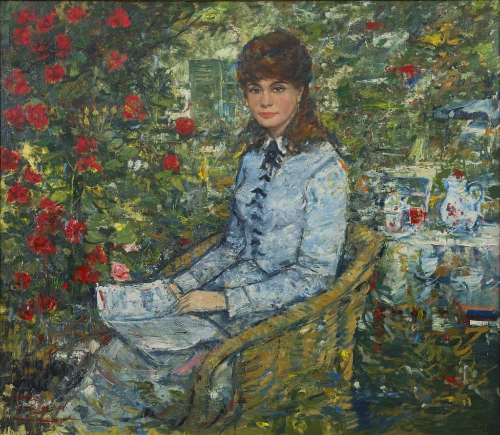 Rolf Dieter Meyer-Wiegand | Zittende vrouw in een bloementuin