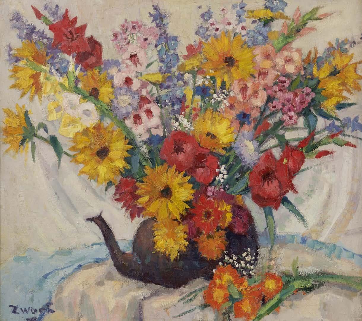 Arie Zwart - Kleurrijk bloemstilleven