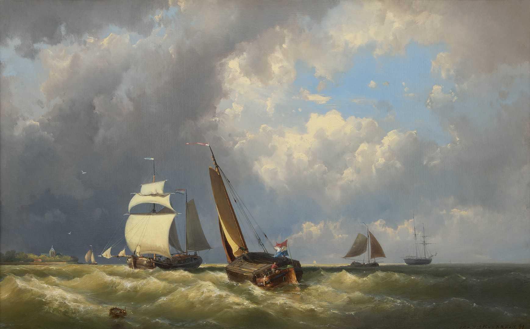 Johannes Hermanus Barend Koekkoek - Woelige zee met diverse schepen
