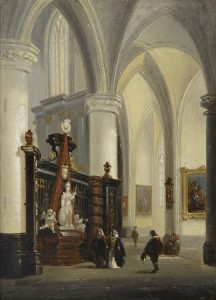 Johannes Bosboom | Kerkinterieur met figuren bij een altaar