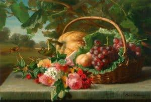Gerardine van de Sande Bakhuyzen | Stilleven met bloemen en fruit in een mand