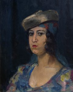 Isaac Israels | Dame met baret