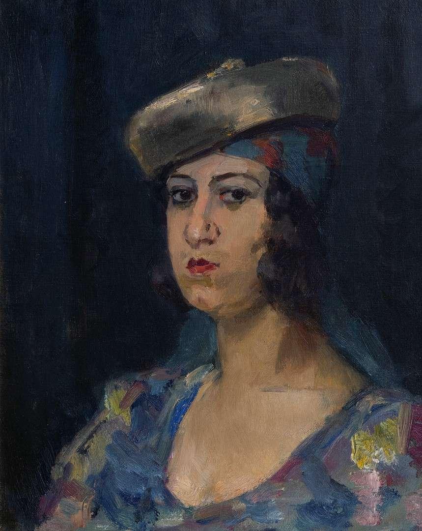 Isaac Israels Dame met baret