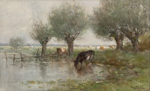 Willem Roelofs | Polder landschap with wading cows