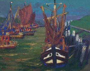 Jannes de Vries | Gezicht op de haven van Termunterzijl