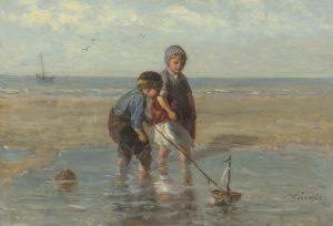 Jozef Israëls | Children playing in the surf