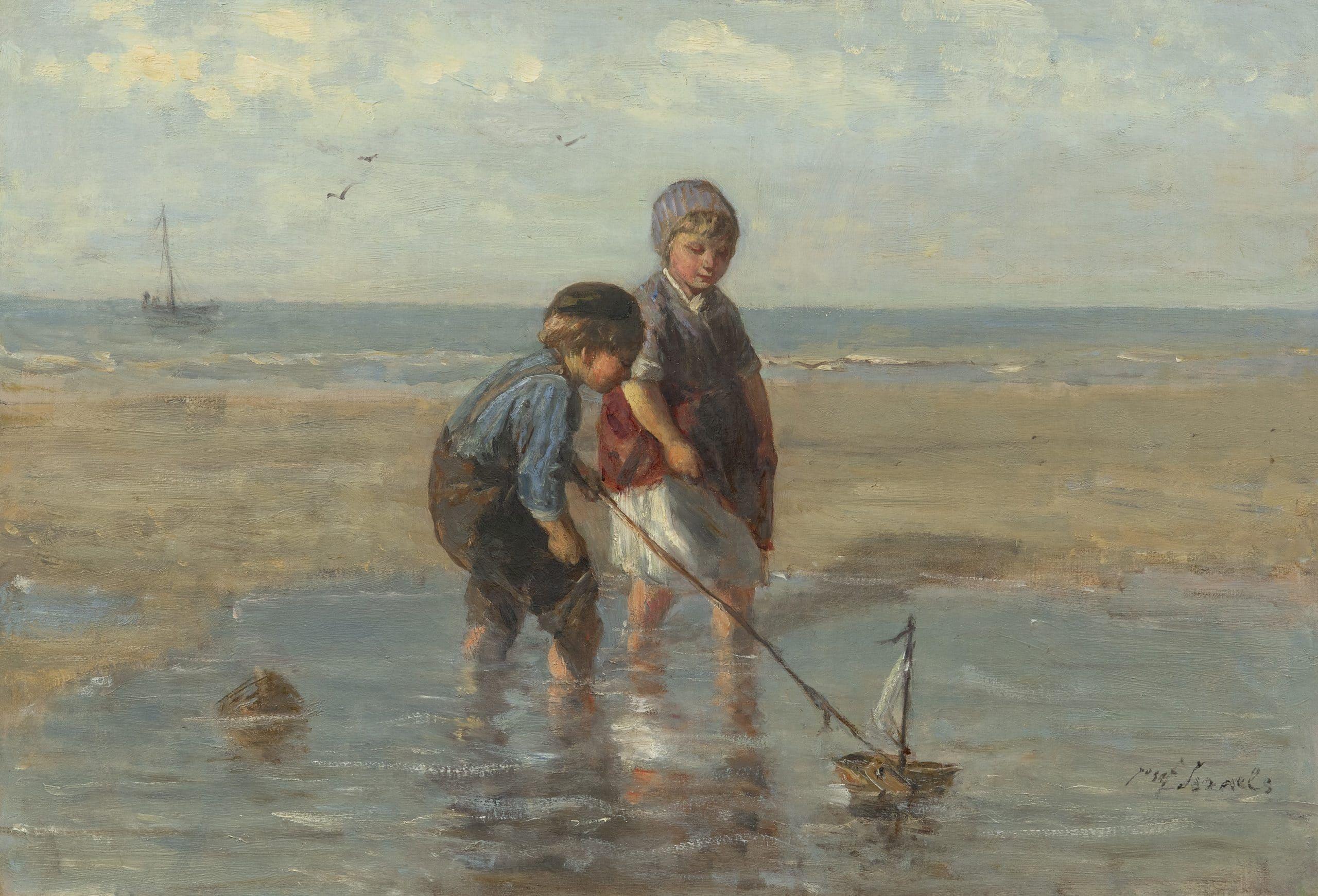 Jozef Israels - Kinderen spelend in de branding