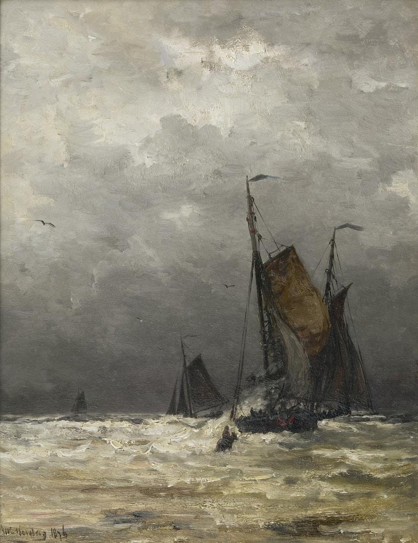 Hendrik Willem Mesdag De terugkomst van de bomschuiten