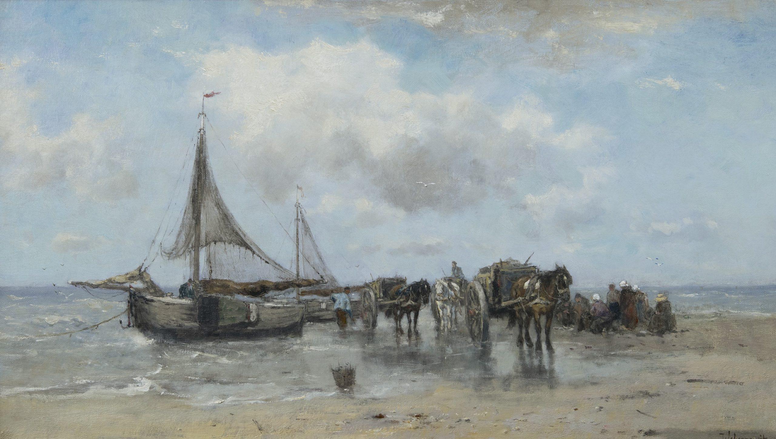 Johan Scherrewitz - Uitladen van de visvangst