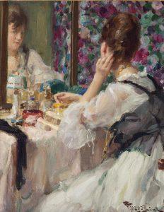 Fernand Toussaint | Jonge vrouw voor de spiegel aan het opmaken
