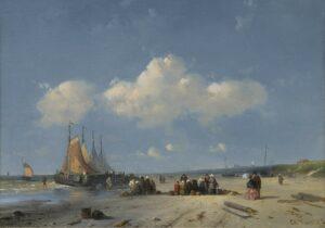 Charles Leickert | Visafslag op het strand