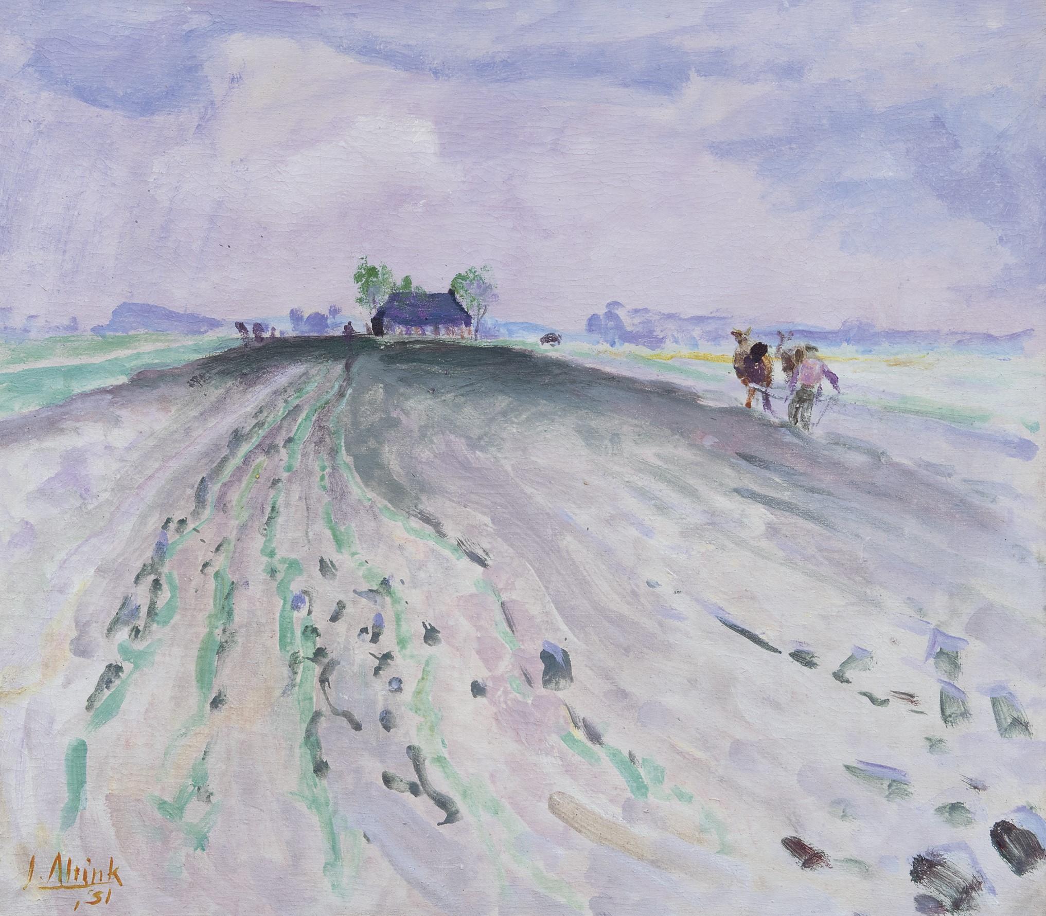 Jan Altink Gronings landschap met oogstende boer