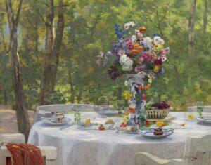 Willem Steelink jr. | Een gedekte tafel in een zonnige tuin in Laren
