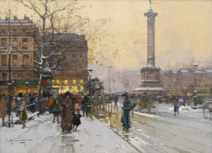 Eugène Galien-Laloue   Gezicht op Place de la Bastille in Parijs