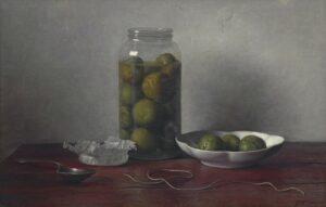 Johannes Hendrik Eversen | Stilleven met groene walnoten in een glazen vaas