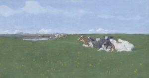 Jan Voerman sr | Summer meadow landschape with cows on the IJssel