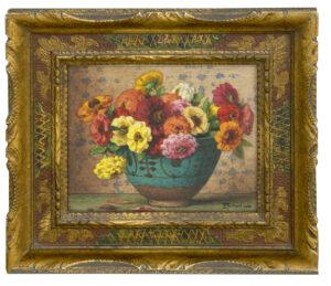 Ernest Filliard | Zinnia's in een groene pot